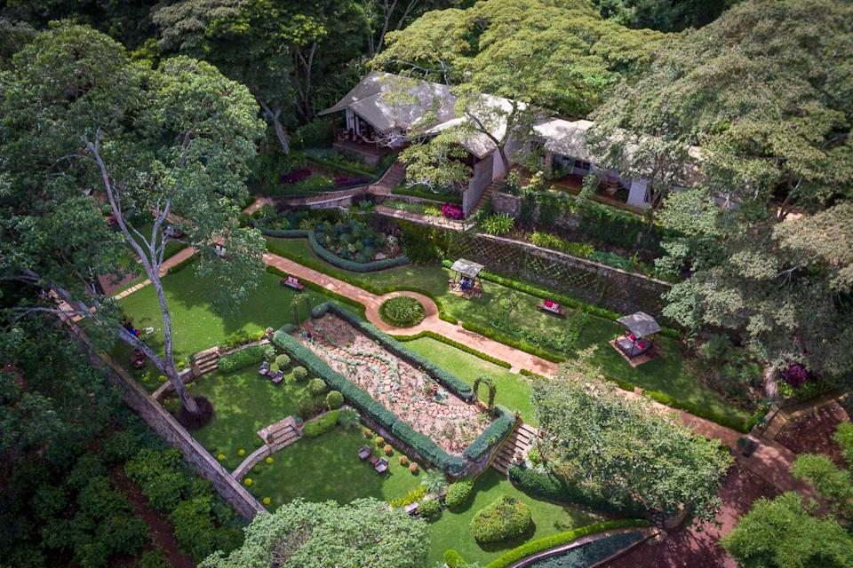 Aerial view of a cottage house at Gibb's Farm, voted one of the best hotels in the world