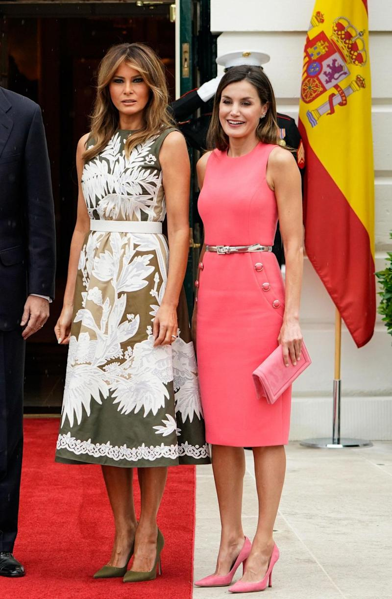 First Lady Melania Trump and Spain's Queen Letizia at the White House (AFP/Getty Images)