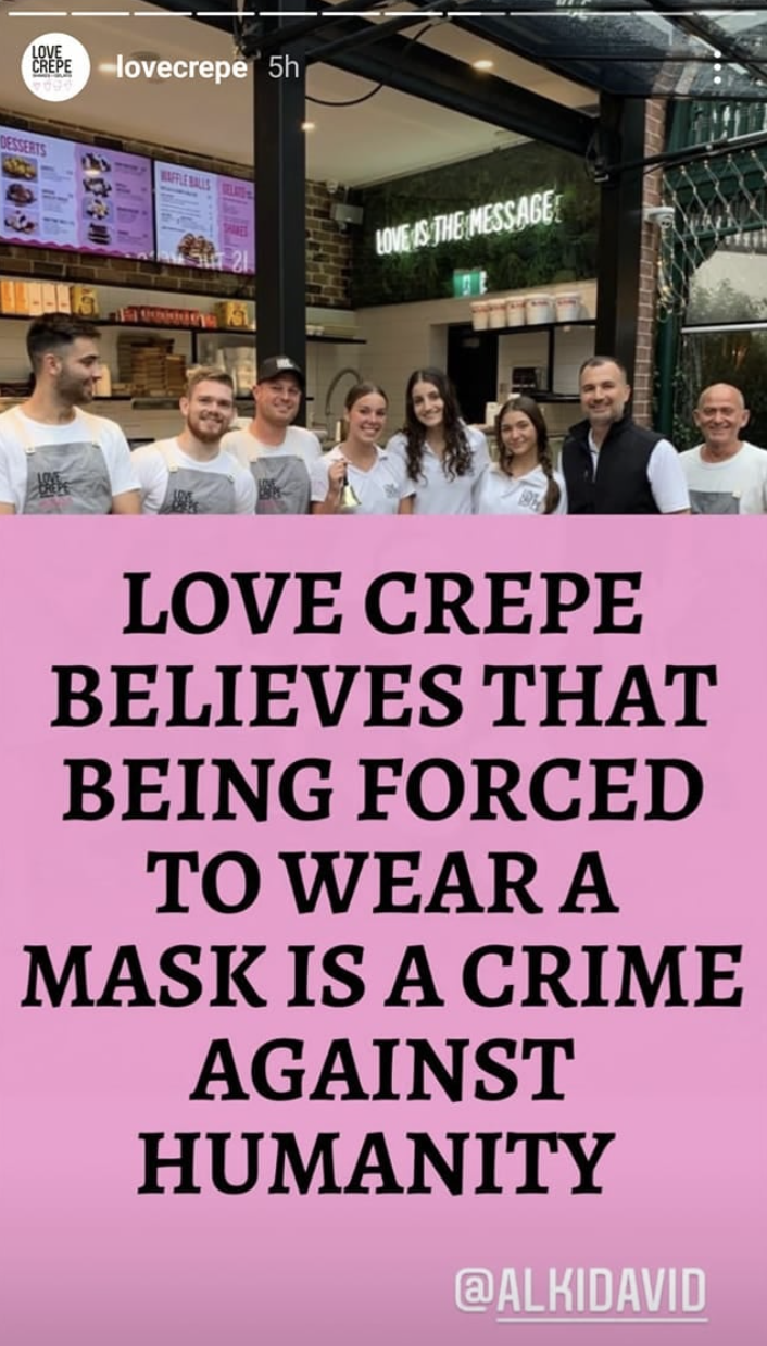 A post on the Love Crepe Instagram page that claims wearing a mask is a crime against humanity.