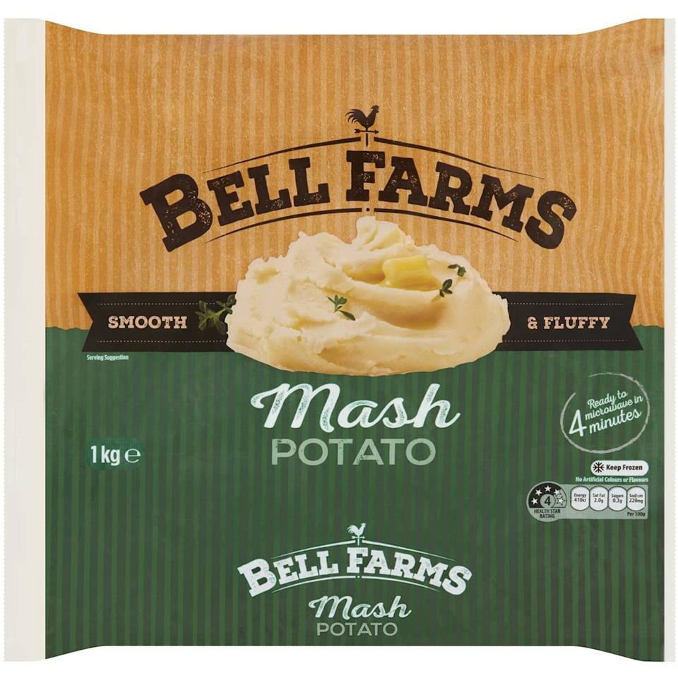 Woolworths Bell Farms Frozen Mash Potato 1kg. Photo: Woolworths.