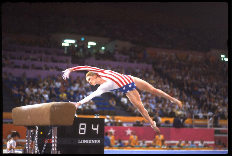 <b>1984 Los Angles Olympics</b><br>AUG 1984: KATHY JOHNSON OF THE UNITED STATES PERFORMS ONE OF HER VAULTS DURING THE SIDE HORSE VAULT EVENT AT THE 1984 LOS ANGELES OLYMPICS.