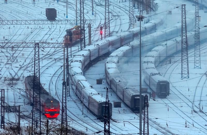 FILE PHOTO: Trains are seen on the Trans-Siberian railway on a cold day in the Siberian city of Krasnoyarsk