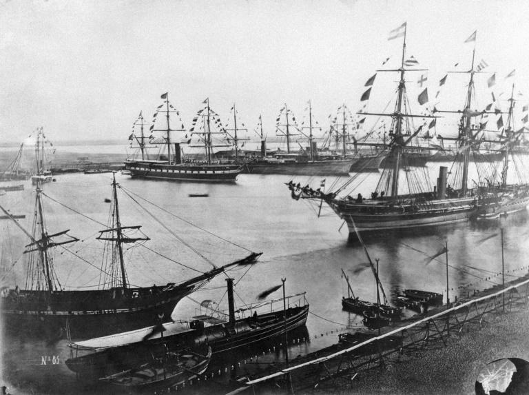 A file photo from November 1869 shows the inauguration of the Suez Canal in Egypt, which opened after a decade-long construction to link the Mediterranean to the Red Sea