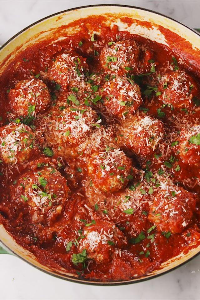 """<p>These <a href=""""https://www.delish.com/cooking/g1753/best-meatball-recipes/"""">meatballs</a> don't have any bread crumbs and hold together with a little help from ricotta and Parmesan. They are light and airy with tons of flavour, and the sauce brings it all together! </p><p>Get the <a href=""""https://www.delish.com/uk/cooking/recipes/a32431672/baked-turkey-meatballs-recipe/"""" target=""""_blank"""">Baked Italian Meatballs</a> recipe.</p>"""