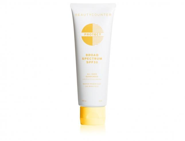 """<p><b>Active Ingredients:</b> 19% Zinc Oxide <br>This new beauty brand is stringent about ingredients, banning skin irritants, possible carcinogens, and hormone disrupters (for a total of 1500 banned ingredients). Their stellar sunscreen is formulated with 19% non-nano zinc oxide and absorbs easily into skin without any white streaks. The delightful citrus scent is a bonus.<br><br><a href=""""http://www.beautycounter.com/protect-broad-spectrum-spf-30-all-over-sunscreen.html"""" rel=""""nofollow noopener"""" target=""""_blank"""" data-ylk=""""slk:Beauty Counter Protect All Over Sunscreen SPF 30"""" class=""""link rapid-noclick-resp"""">Beauty Counter Protect All Over Sunscreen SPF 30</a> ($26)</p>"""