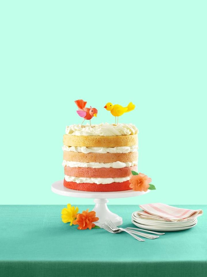 "<p>Keep things simple and stylish with an ombré cake for the baby shower. The colors can easily be changed, so you can easily make it blue for a boy's baby shower (or make it any other color that strikes your fancy!) </p><p><a rel=""nofollow"" href=""https://www.womansday.com/food-recipes/food-drinks/recipes/a54430/pink-ombre-cake-with-buttercream-recipe/"">Get the recipe.</a></p>"