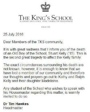 The statement released by The King's School, informing the students of Stuart's death. Photo: Supplied
