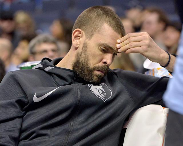 Marc Gasol wasn't happy about spending Sunday's fourth quarter on the bench. (AP)