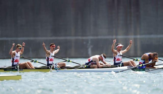 Great Britain celebrate their silver medal