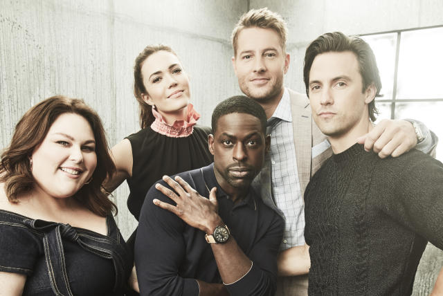 <i>This Is Us </i>stars: Chrissy Metz, Mandy Moore, Sterling K. Brown, Justin Hartley, and Milo Ventimiglia. (Photo: Maarten de Boer/NBC via Getty Images)