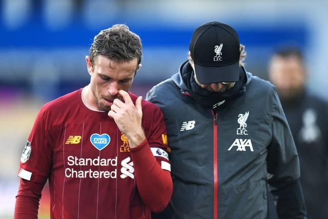 There was frustration for Liverpool, including captain Jordan Henderson and manager Jurgen Klopp (PA)