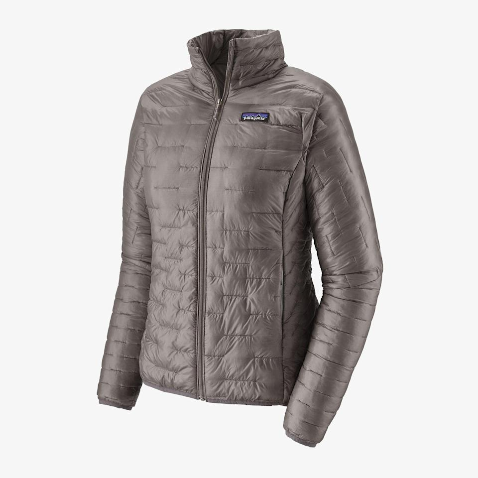 """<p><strong>Micro Puff Jacket</strong></p><p>patagonia.com</p><p><strong>$249.00</strong></p><p><a href=""""https://www.patagonia.com/product/womens-micro-puff-jacket/84070.html"""" rel=""""nofollow noopener"""" target=""""_blank"""" data-ylk=""""slk:Shop Now"""" class=""""link rapid-noclick-resp"""">Shop Now</a></p><p>Designed around adventure and the environment, <strong><a href=""""https://www.patagonia.com/home/"""" rel=""""nofollow noopener"""" target=""""_blank"""" data-ylk=""""slk:Patagonia"""" class=""""link rapid-noclick-resp"""">Patagonia</a></strong> has become synonymous with the great outdoors thanks to its focus on sustainability. The <a href=""""https://www.patagonia.com/product/womens-micro-puff-jacket/84070.html"""" rel=""""nofollow noopener"""" target=""""_blank"""" data-ylk=""""slk:Mico Puff Jacket"""" class=""""link rapid-noclick-resp"""">Mico Puff Jacket</a> is one of the best pieces of outerwear you'll come across both in terms of its portability and insulation.</p>"""