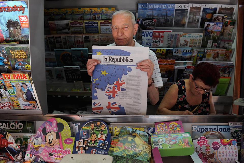 A newsagent in Italy shows how one paper reacted to the Brexit vote (Getty)