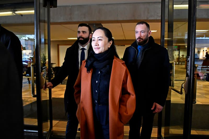 Huawei Chief Financial Officer Meng Wanzhou leaves B.C. Supreme Court after attending a case management conference in Vancouver