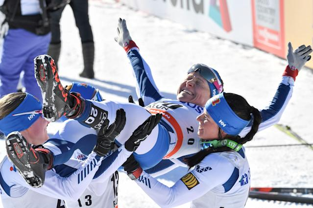 FIS Cross Country World Cup - Women's 10 km Pursuit - Falun, Sweden - March 18, 2018. Finland's Aino-Kaisa Saarinen is hoisted in the air by teammates Johanna Matintalo, Kerttu Niskanen and Krista Parmakoski after finishing her last race in her skiing career. TT News Agency/Ulf Palm via REUTERS ATTENTION EDITORS - THIS IMAGE WAS PROVIDED BY A THIRD PARTY. SWEDEN OUT. NO COMMERCIAL OR EDITORIAL SALES IN SWEDEN.