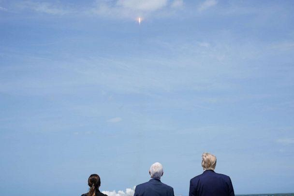 PHOTO: Karen Pence, Vice President Mike Pence and President Donald Trump watch the SpaceX launch at the Kennedy Space Center in Florida on May 30, 2020. (Mandel Ngan/AFP via Getty Images)
