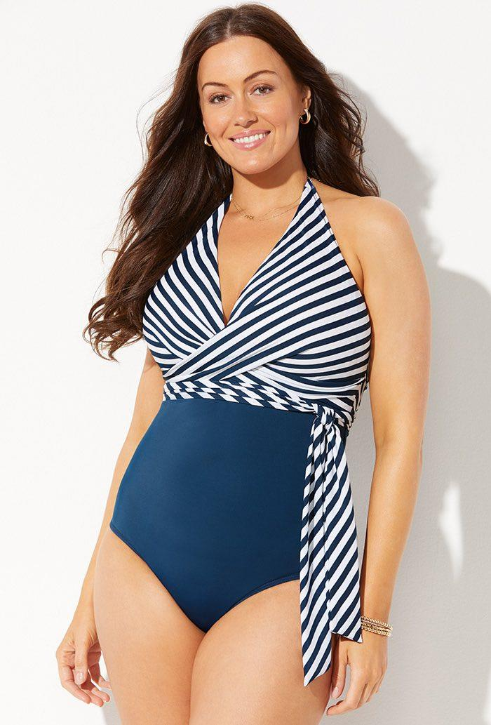 Horizon Faux Wrap Halter One Piece Swimsuit. Image via Swimsuits for All.