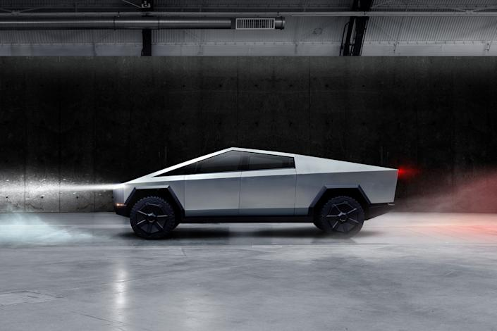 The Cybertruck, Tesla's first electric pickup truck, is seen in this undated handout picture released by the company