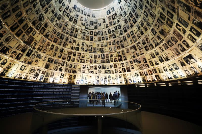 Visitors enter the Hall of Names to look at pictures of Jews killed in the Holocaust during a visit to the Holocaust History Museum at the Yad Vashem World Holocaust Remembrance Center in Jerusalem