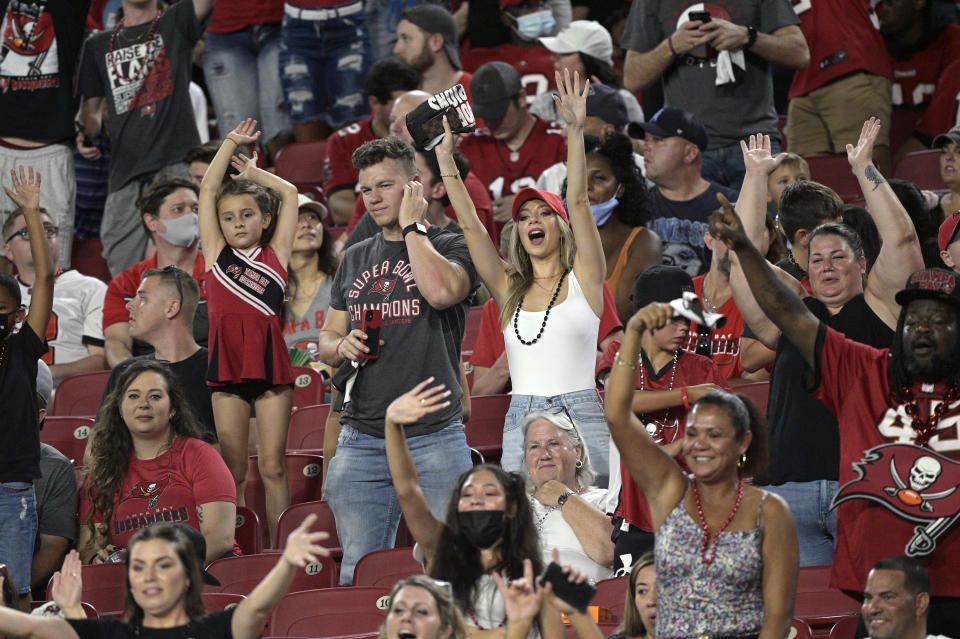 Fans will be back in NFL stadiums this fall, starting in Tampa on Thursday. (AP Photo/Phelan M. Ebenhack)