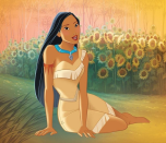 <p>In 1995, Disney released the story of <em>Pocahontas</em>, a chief's daughter who served as a peacemaker with some of the first colonial British settlers. Pocahontas wears a tan one-shoulder dress and turquoise necklace.</p>