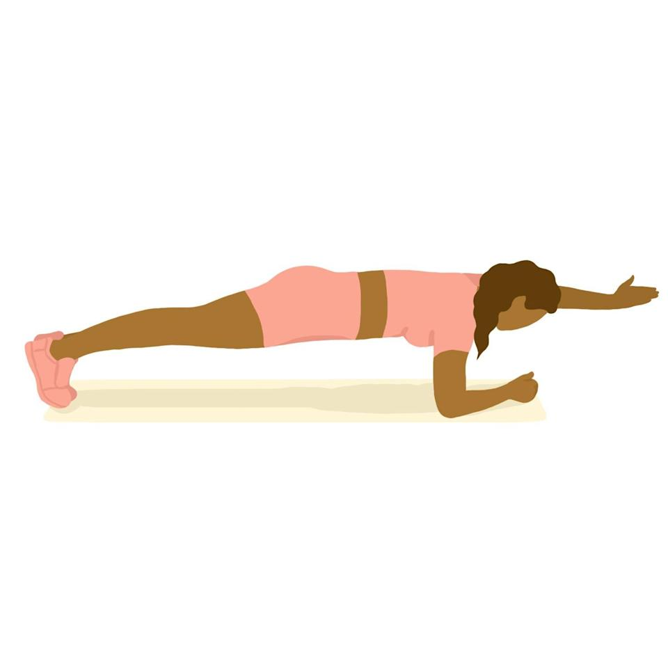 Oblique Exercises: forearm plank with one-arm reach out