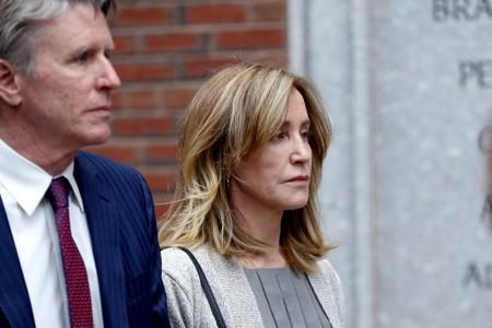 Actror Felicity Huffman leaves the federal courthouse in Boston