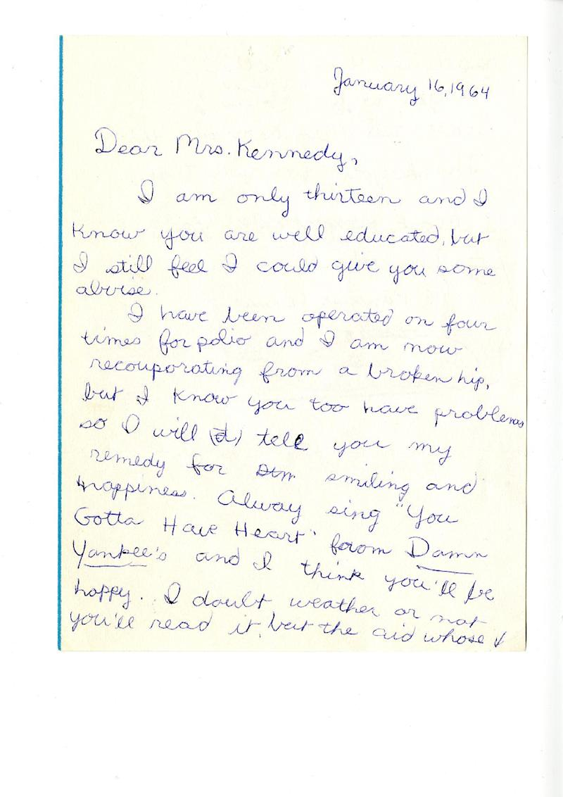 "This photo provided by TLC shows the first page of a two page letter that Janis Hirsch wrote to Mrs. Kennedy from the JFK Library. Hirsch's note, among some 800,000 sent to Mrs. Kennedy in the two months after President John F. Kennedy's Nov. 22, 1963, killing in Dallas, is featured along with about 20 others in ""Letters to Jackie: Remembering President Kennedy,"" airing 9 p.m. EST Sunday, Nov. 17, 2013, on TLC. (AP Photo/Courtesy TLC)"