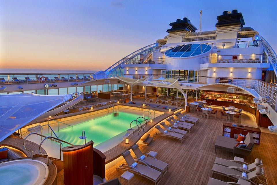 Pool Deck At Night on the Seabourn Encore