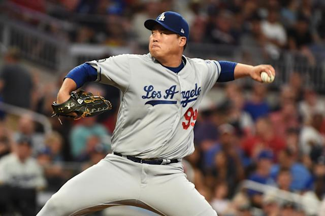 Hyun-Jin Ryu #99 of the Los Angeles Dodgers. (Photo by Logan Riely/Getty Images)