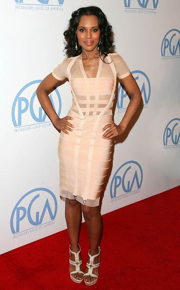 "Just when we thought we never wanted to see another star in a Herve Leger bandage dress, Kerry Washington showed up at the PGAs in this knockout frock, which she perfectly paired with Swarovski crystal-encrusted Rene Caovilla heels. Veronica Summers/<a href=""http://www.splashnewsonline.com"" target=""new"">Splash News</a> - January 22, 2011"