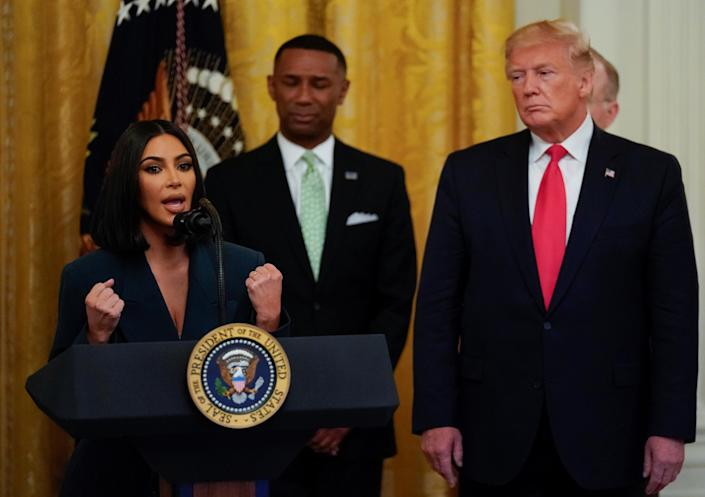 Kardashian joined President Trump in June 2019 for a White House event marking job re-entry opportunities for the formerly incarcerated. (Photo: REUTERS/Kevin Lamarque)