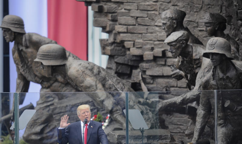 U.S. President Donald Trump delivers a speech in Krasinski Square, back dropped by the monument commemorating the 1944 Warsaw Uprising against the Nazis, in Warsaw, Poland, Thursday, July 6, 2017. (AP Photo/Alik Keplicz)