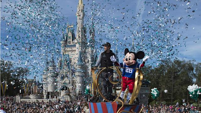 Mickey Mouse was joined by Nick Foles for a parade at Walt Disney World following the Philadelphia Eagles' Super Bowl win.