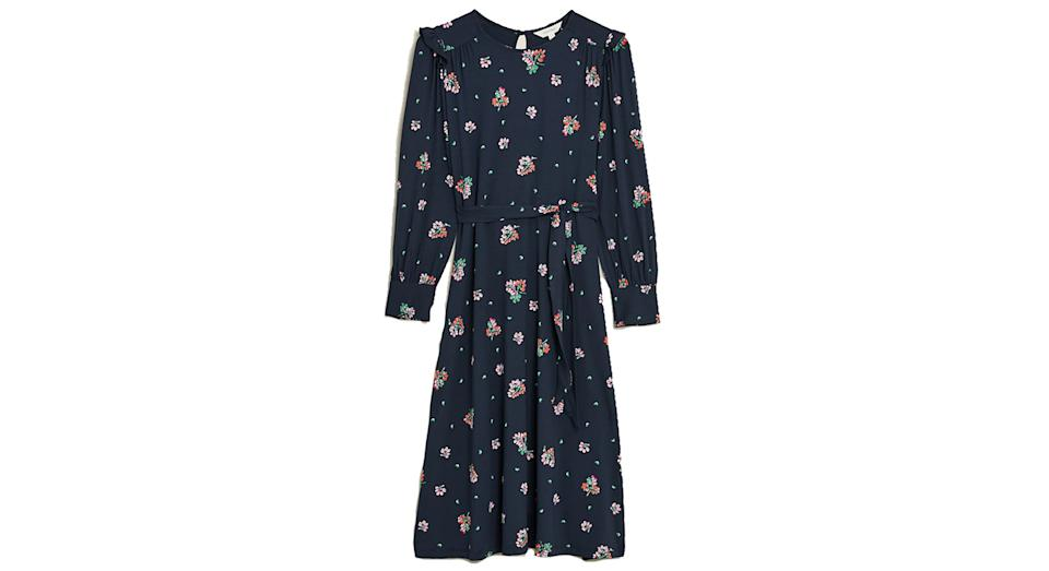 Jersey Floral Frill Sleeve Midi Smock Dress
