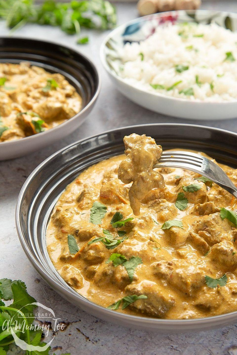 """<p>This slow-cooked lamb korma recipe is deliciously creamy, slightly sweet, and filled with melt-in-the-mouth lamb. </p><p>Get the <a href=""""https://www.amummytoo.co.uk/slow-cooked-melt-mouth-lamb-korma/"""" rel=""""nofollow noopener"""" target=""""_blank"""" data-ylk=""""slk:Lamb Korma"""" class=""""link rapid-noclick-resp"""">Lamb Korma</a> recipe.</p><p>Recipe from <a href=""""https://www.amummytoo.co.uk/"""" rel=""""nofollow noopener"""" target=""""_blank"""" data-ylk=""""slk:A Mummy Too"""" class=""""link rapid-noclick-resp"""">A Mummy Too</a>.</p>"""