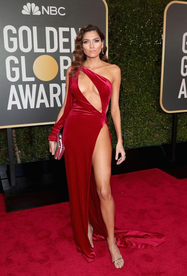 <p>Actress Blanca Blanco, one of the few guests not wearing black, attends the 75th Annual Golden Globe Awards at the Beverly Hilton Hotel in Beverly Hills, Calif., on Jan. 7, 2018. (Photo: Steve Granitz/WireImage) </p>