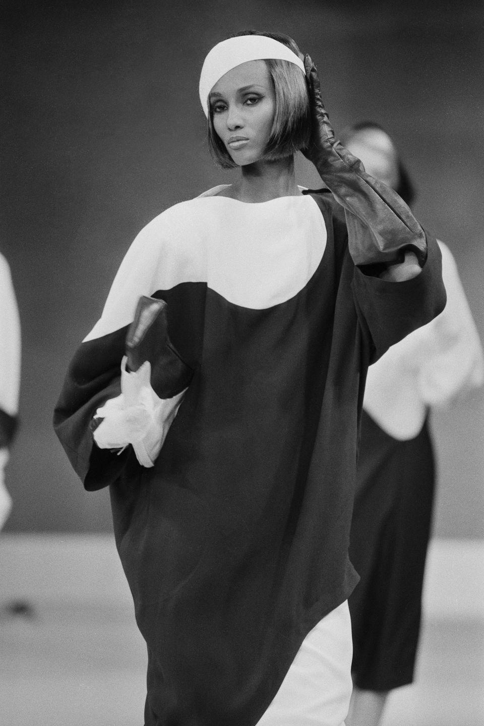 Photo credit: Iman on the Thierry Mugler catwalk in 1983 - Getty Images