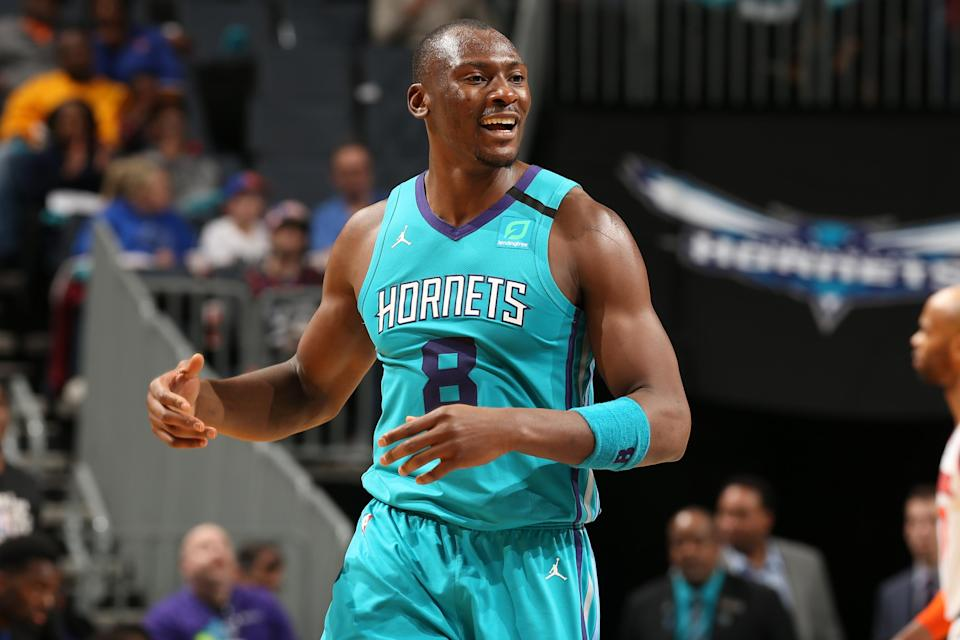 CHARLOTTE, NC - FEBRUARY 26:  Bismack Biyombo #8 of the Charlotte Hornets looks on during the game against the New York Knicks on February 26, 2020 at Spectrum Center in Charlotte, North Carolina. NOTE TO USER: User expressly acknowledges and agrees that, by downloading and or using this photograph, User is consenting to the terms and conditions of the Getty Images License Agreement. Mandatory Copyright Notice: Copyright 2020 NBAE (Photo by Kent Smith/NBAE via Getty Images)