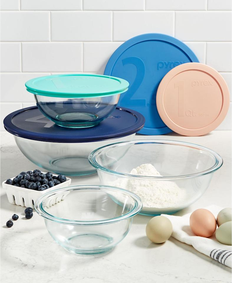 """<p><strong>Pyrex</strong></p><p>macys.com</p><p><strong>$24.99</strong></p><p><a rel=""""nofollow"""" href=""""https://www.macys.com/shop/product/pyrex-8-pc.-mixing-bowl-set?ID=5899183"""">Shop Now</a></p><p>If you've learned anything from <em><a rel=""""nofollow"""" href=""""https://www.netflix.com/title/80063224"""">The Great British Baking Show</a></em>, it's that it's important to always separate ingredients when baking. That's why this mixing bowl set is a must for any baker, novice, or otherwise. </p><p><a rel=""""nofollow"""" href=""""https://www.goodhousekeeping.com/appliances/mixer-reviews/g2281/hand-mixer-reviews/""""><strong>RELATED:</strong> The 10 Best Hand Mixers to Buy</a></p>"""