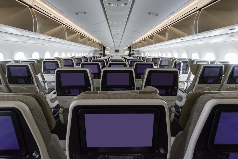 Cabin interior of a modern passenger aircraft (wide body)
