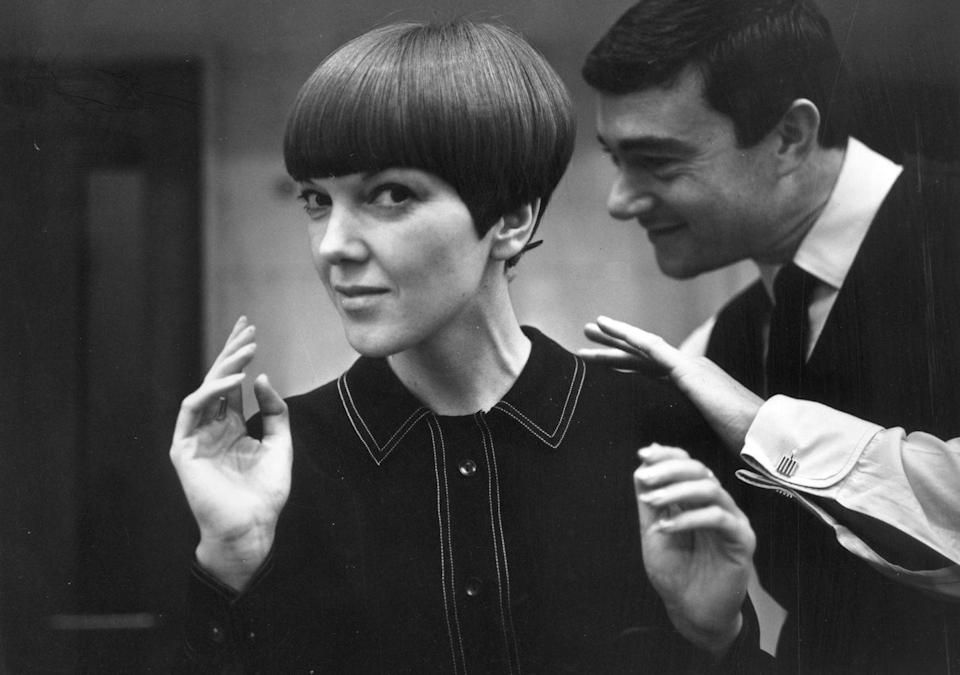 <p>Taking the same bob a step further, Sassoon popularized the modern, geometric look on women including Mary Quant.</p>