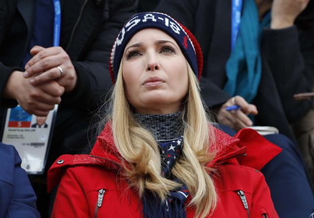 Snowboarding - Pyeongchang 2018 Winter Olympics - Men's Big Air Finals - Alpensia Ski Jumping Centre - Pyeongchang, South Korea - February 24, 2018 - U.S. President Donald Trump's daughter and senior White House adviser, Ivanka Trump sits in the stands. REUTERS/Eric Gaillard