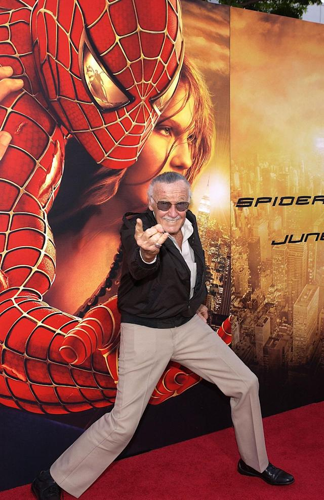 "<p><em>Spider-Man</em> co-creator Stan ""The Man"" Lee shows off his web-throwing prowess at the <em>Spider-Man 2</em> premiere.(Photo: Vince Bucci/Getty Images) </p>"