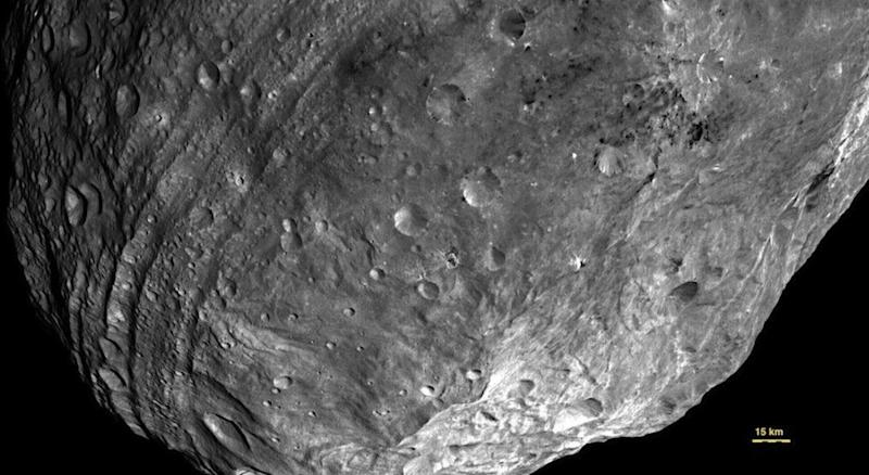 Close-up of Vesta photographed by NASAs Dawn spacecraft. Scientists believe the asteroid may contain water ice.