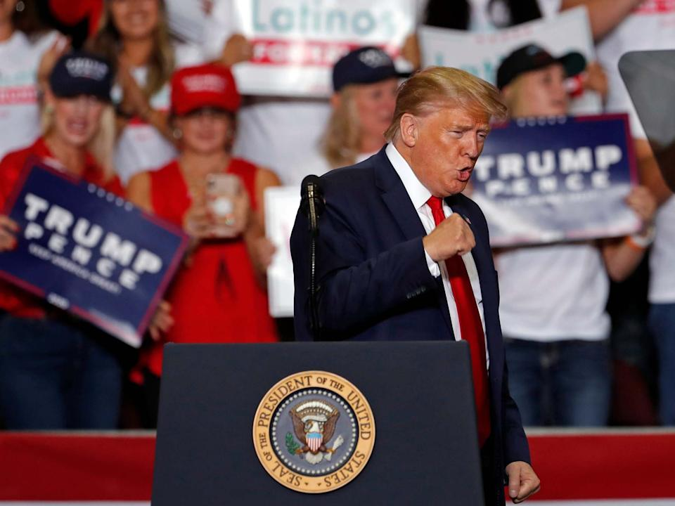 President Trump speaks during a campaign rally at the Santa Ana Star Center in Rio Rancho, New Mexico: Andres Leighton/AP