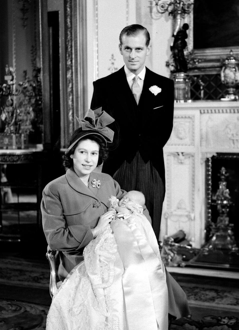 """<p>The royal couple had their first child, <a href=""""https://www.goodhousekeeping.com/life/a22749353/prince-charles-young-camilla-diana/"""" rel=""""nofollow noopener"""" target=""""_blank"""" data-ylk=""""slk:Prince Charles"""" class=""""link rapid-noclick-resp"""">Prince Charles</a>, almost exactly a year after their wedding.</p>"""