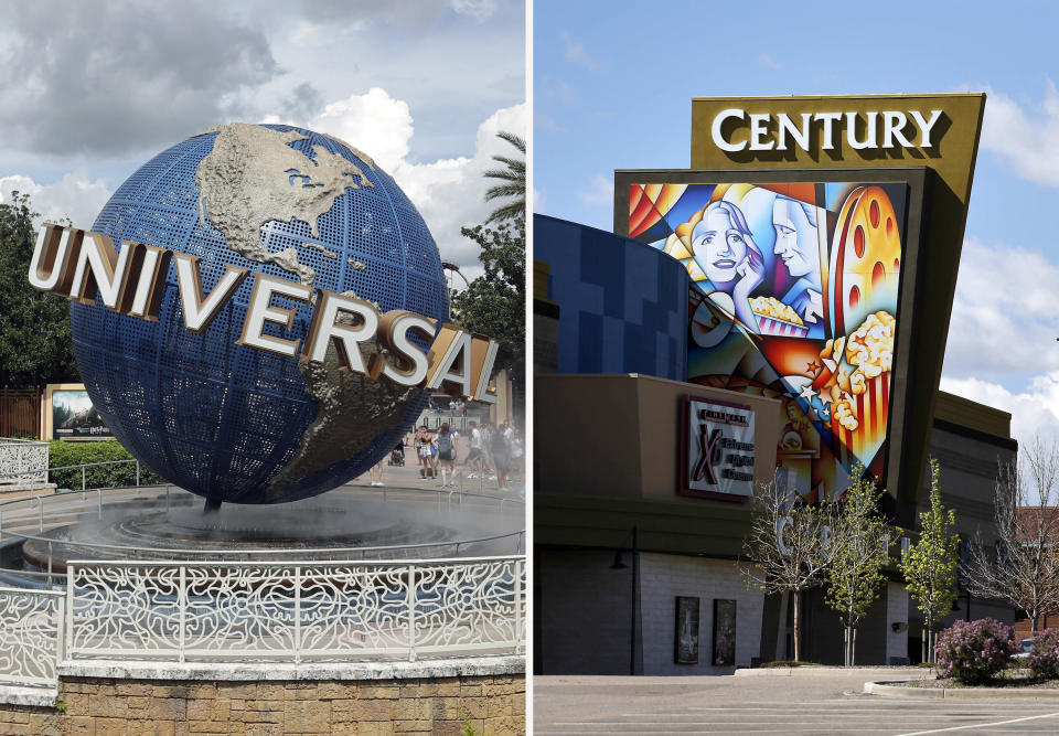 This combination photo shows the Universal Studios globe on Aug. 5, 2019, in Orlando, Fla., left, and the Cinemark Century 16 movie theater in Aurora, Colo., on May 11, 2016. Universal Pictures and Cinemark announced Monday, Nov. 16, 2020, a multiyear agreement that guarantees three full weekends, or 17 days, of theatrical exclusivity for Universal and Focus Feature titles before a film can become available to rent on demand. Films that open to $50 million or more, however, will stay in theaters exclusively for five full weekends, or 31 days. (AP Photo)