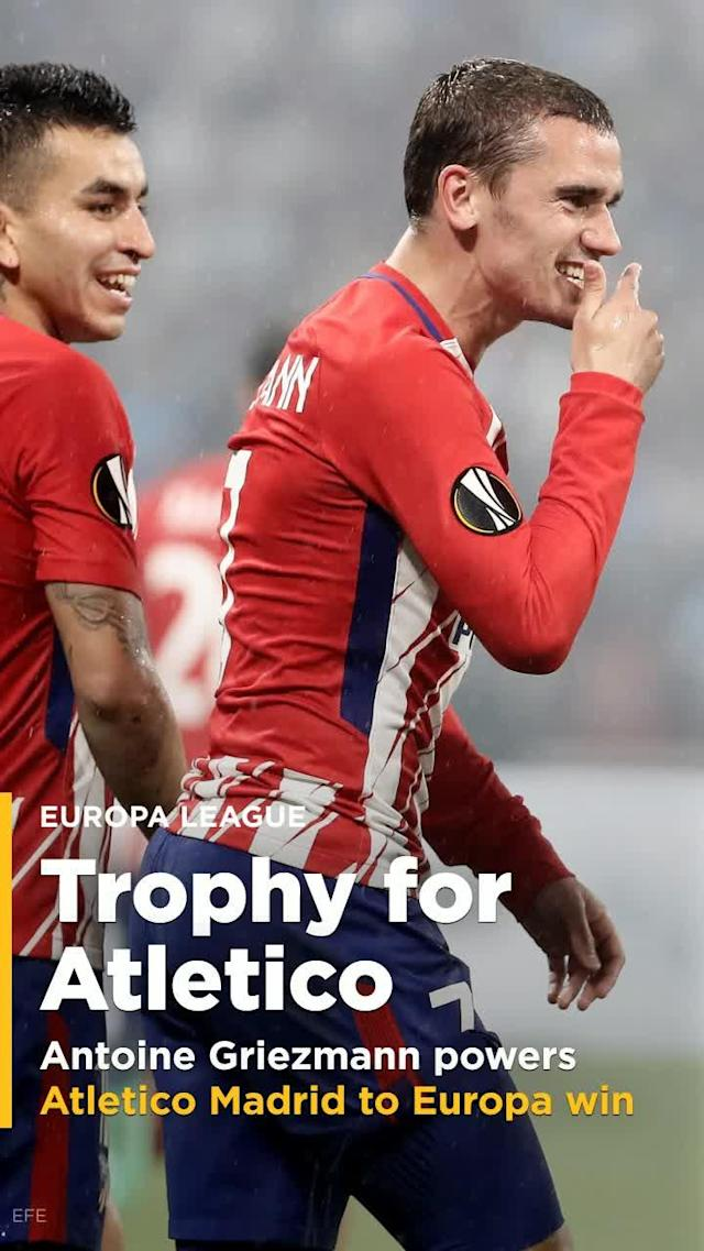 Antoine Griezmann fired Atletico Madrid to a 3-0 victory over Marseille, and to the club's third Europa League title this decade.