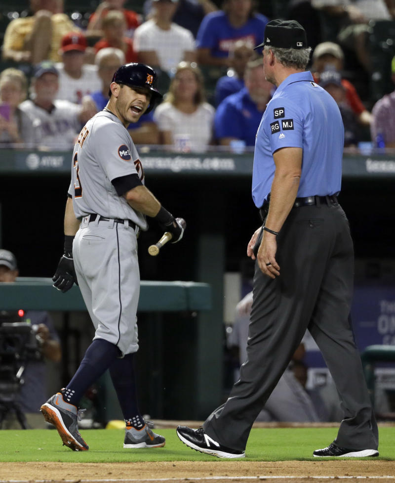 Detroit Tigers' Ian Kinsler argues with Ted Barrett after being ejected. (AP)